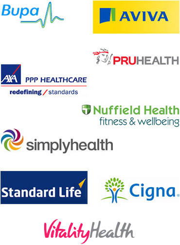 Uxbridge Charter Physiotherapy Affilations; Bupa, Aviva, PruHealth, Axa PPP Heathcare, Nuffield Health, Simply Health, Standard Life, Cigna.